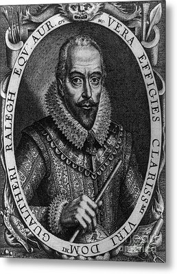 Walter Raleigh, English Courtier Metal Print by Photo Researchers