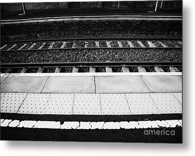 Warning Line And Textured Contoured Tiles Railway Station Platform And Track Northern Ireland Metal Print by Joe Fox