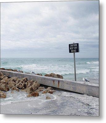 Warning Sign At The Beach Metal Print by Skip Nall