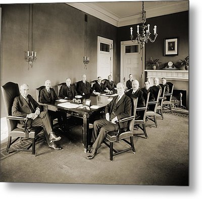 Warren G. Harding S Cabinet In 1921 Metal Print by Everett