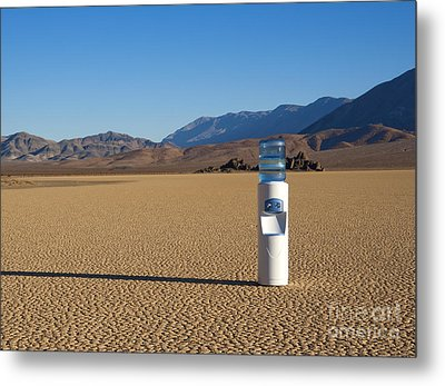 Water Cooler In Desert Metal Print by David Buffington