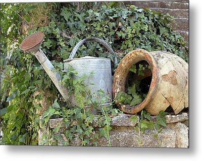 Watering Can And Broken Pot Metal Print by Tony Craddock