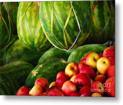 Watermellons And Apples Metal Print by Elaine Manley