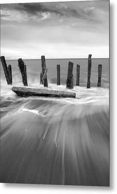 Wave In Black And White Metal Print by Svetlana Sewell