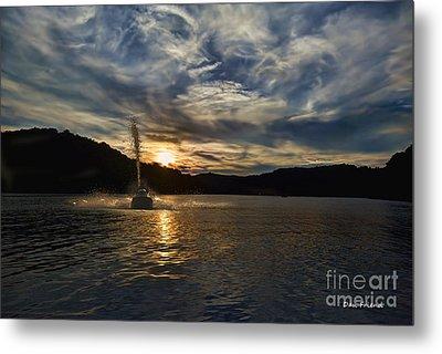 Wave Runner On Lake Evening Metal Print by Dan Friend