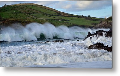 Waves In Dingle Metal Print by Barbara Walsh
