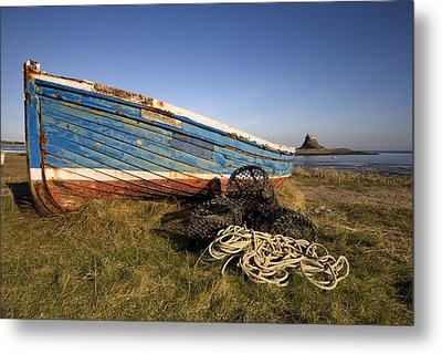 Weathered Fishing Boat On Shore, Holy Metal Print by John Short
