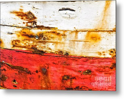 Weathered With Red Stripe Metal Print by Silvia Ganora