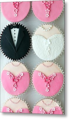 Wedding Party Cupcakes Metal Print by Ruth Black