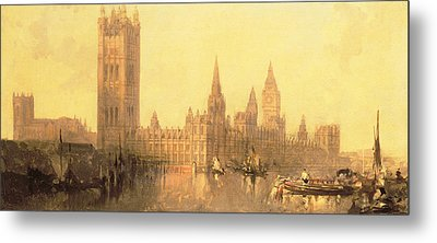 Westminster Houses Of Parliament Metal Print by David Roberts