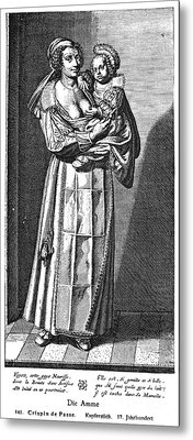 Wet Nurse, 17th Century Metal Print by Granger