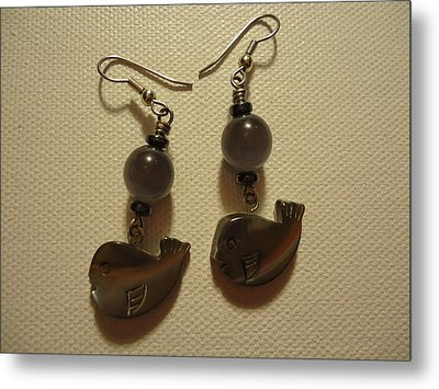 Whale Around Earrings Metal Print by Jenna Green