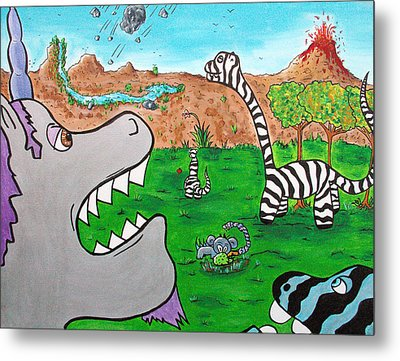 When Zebrasaurs Walked The Earth Metal Print by Jera Sky
