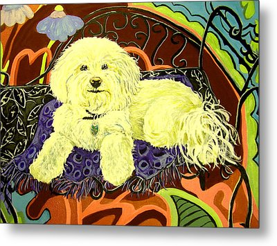 White Dog In Garden Metal Print by Patricia Lazar