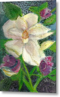 White Happy Flower Metal Print by Anne-Elizabeth Whiteway