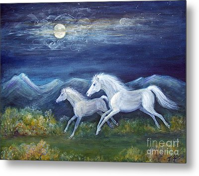 White Horses In Moonlight Metal Print by Maureen Ida Farley
