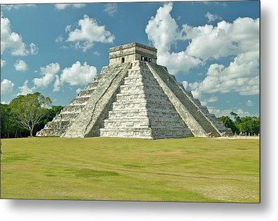 White Puffy Clouds Over The Mayan Pyramid Of Kukulkan (also Known As El Castillo) And Ruins At Chichen Itza, Yucatan Peninsula, Mexico Metal Print by VisionsofAmerica/Joe Sohm
