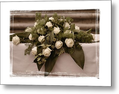 White Roses For The Wedding Metal Print by Mary Machare