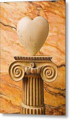 White Stone Heart On Pedestal Metal Print by Garry Gay