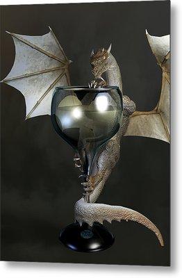 White Wine Dragon Metal Print by Daniel Eskridge
