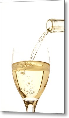 White Wine Pouring Into A Glass Metal Print by Ross Durant Photography