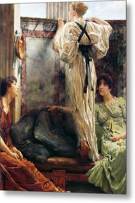 Who Is It Metal Print by Sir Lawrence Alma-Tadema