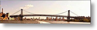 Williamsburg Bridge And The New York City Skyline Panorama Metal Print by Vivienne Gucwa