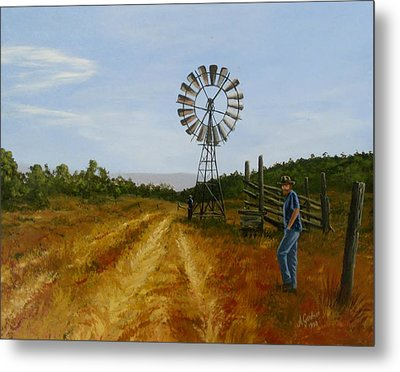 Windmill At Mandagery Metal Print by Anne Gardner