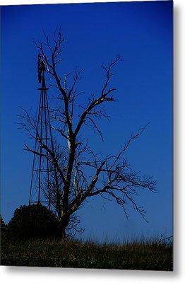 Windmill Blue Metal Print by Todd Sherlock