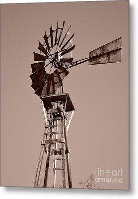 Windmill Sepia Metal Print by Rebecca Margraf