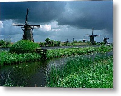 Windmills Of Kinderdijk  Metal Print by Serge Fourletoff