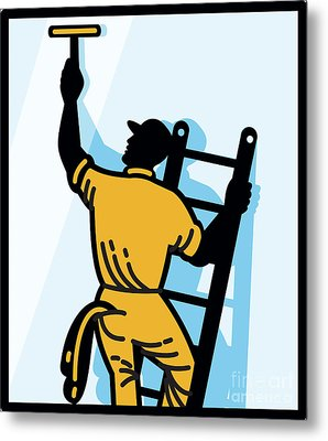 Window Cleaner Worker Cleaning Ladder Retro Metal Print by Aloysius Patrimonio