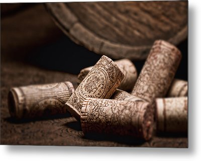 Wine Corks And Barrel Still Life Metal Print by Tom Mc Nemar