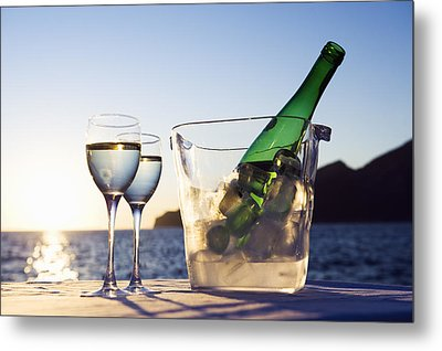 Wine Glasses And Bottle Outdoors Metal Print by Bill Holden