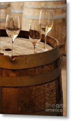 Wine Glasses On An Old Wine Barrel  Metal Print by Michael Gray