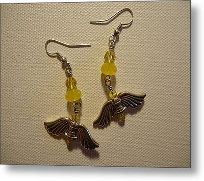 Wings Of An Angel Earrings Metal Print by Jenna Green