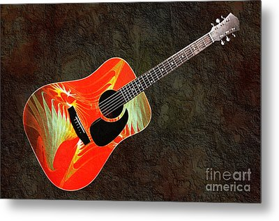 Wings Of Paradise Abstract Guitar Metal Print by Andee Design