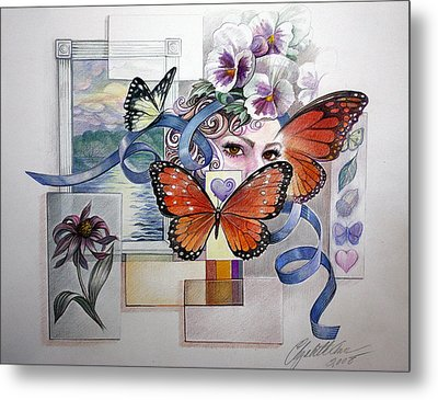Wings With Hearts Metal Print by Elizabeth Shafer