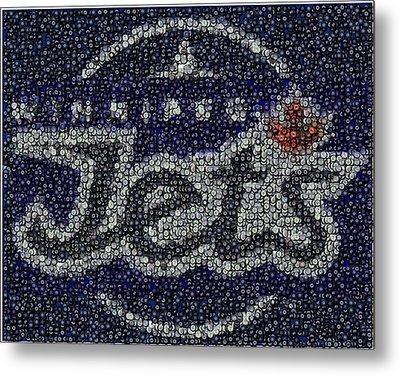 Winnipeg Jets Puck Mosaic Metal Print by Paul Van Scott