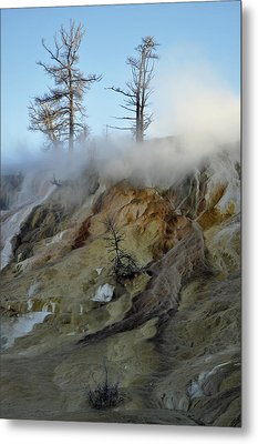 Winter At Yellowstone's Mammoth Terrace Metal Print by Bruce Gourley