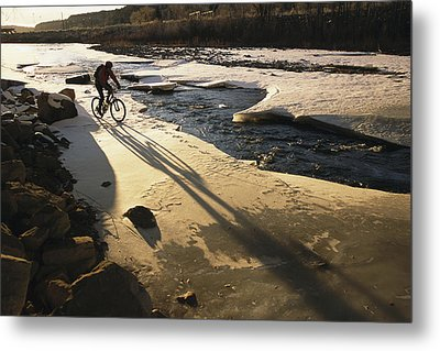 Winter Bicycling On The Partially Metal Print by Kate Thompson