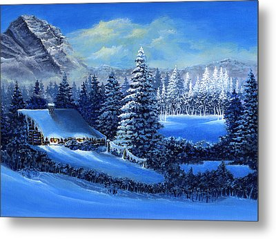 Winter Cabin Metal Print by Bonnie Cook