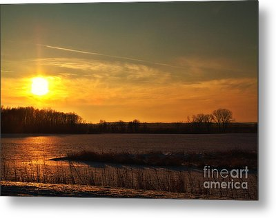 Winter Country Sunset Metal Print by Joel Witmeyer
