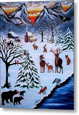 Winter Gathering Metal Print by Adele Moscaritolo