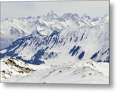 Winter In The Alps - Snow Covered Mountains Metal Print by Matthias Hauser