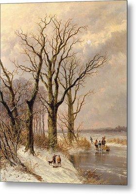 Winter Landscape With Faggot Gatherers Conversing On A Frozen Lake Metal Print by Josephus Gerardus Hans