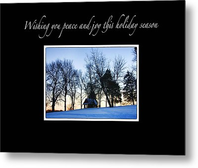 Winter Sunset Christmas Card Metal Print by Daphne Sampson