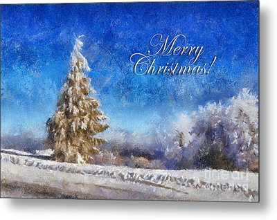 Wintry Christmas Tree Greeting Card Metal Print by Lois Bryan