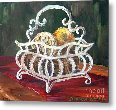 Wire Basket Metal Print by Deborah Smith