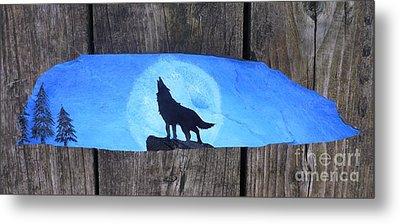 Wolf Howl1 Metal Print by Monika Shepherdson